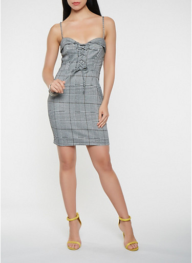 Lace Up Plaid Bodycon Dress,TOWN TAUPE,large