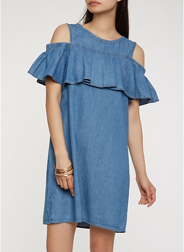 Ruffle Cold Shoulder Chambray Dress,MEDIUM WASH,large