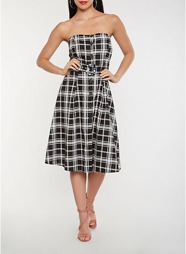 Strapless Plaid Button Front Dress,BLACK,large