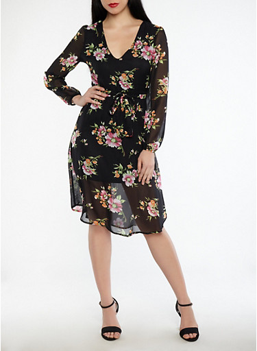 Floral Tie Waist Midi Dress,BLACK,large