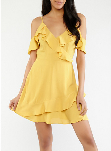 Off the Shoulder Ruffled Faux Wrap Dress,YELLOW,large