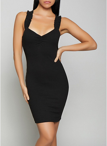 Rib Knit Bodycon Dress | 1410069390813,BLACK,large