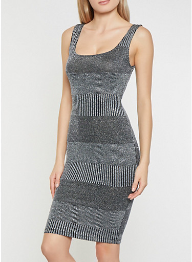 Shimmer Knit Bodycon Dress,SILVER,large