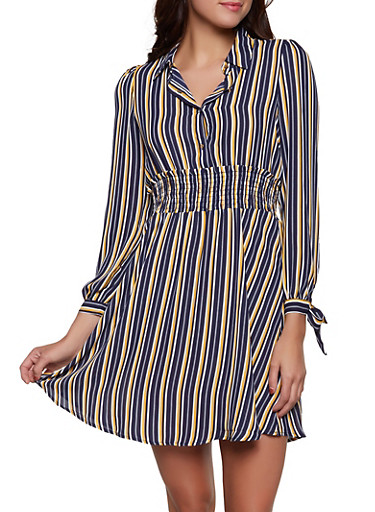 Striped Tie Sleeve Half Button Dress,YELLOW,large