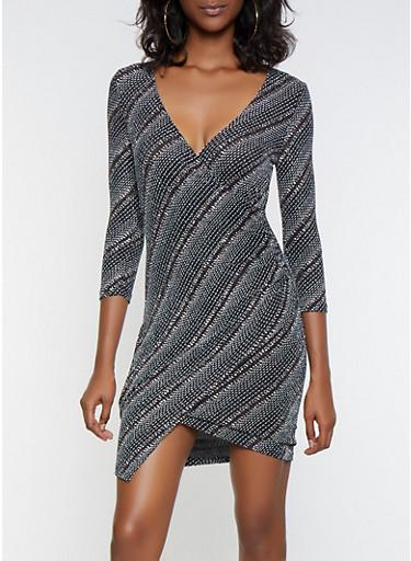 Glitter Knit Faux Wrap Dress,SILVER,large