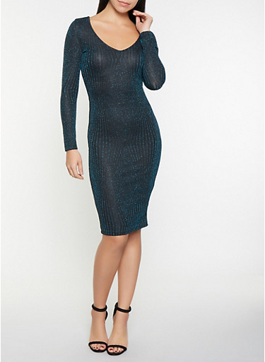 Shimmer Knit Bodycon Dress,TEAL,large