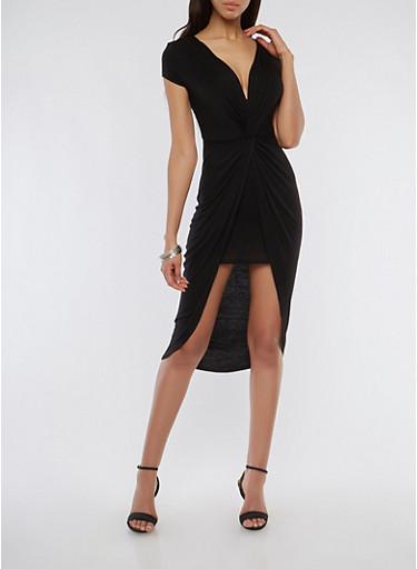 Twist Front Dress,BLACK,large