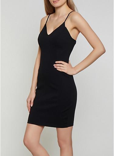 Ponte Knit Cami Bodycon Dress,BLACK,large
