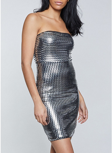 Mirrored Tube Dress,SILVER,large