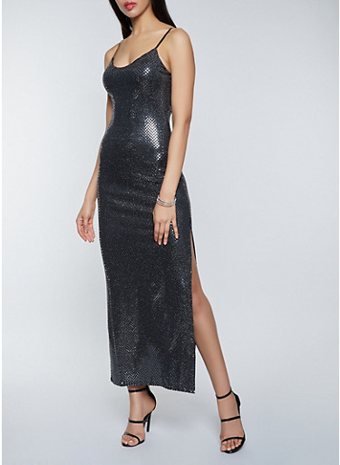 Foil Polka Dot Maxi Dress,SILVER,large