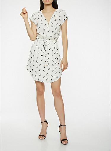 Pineapple Print Tie Waist Dress,WHT-BLK,large