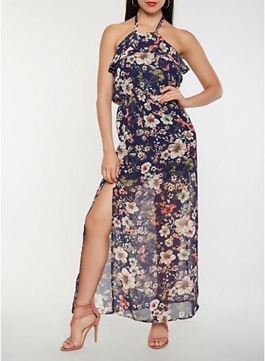 Floral Halter Neck Maxi Dress,NAVY,large