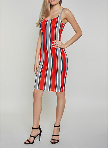 Striped Bodycon Tank Dress | 1410069391493,RED,large