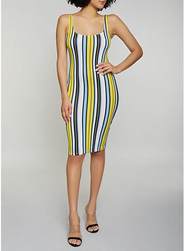 Vertical Stripe Soft Knit Tank Dress,YELLOW,large