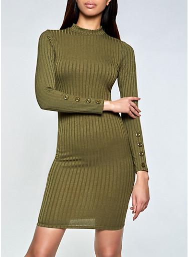 Mock Neck Rib Knit Bodycon Dress,OLIVE,large