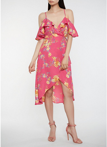 Floral Off the Shoulder High Low Wrap Dress,FUCHSIA,large