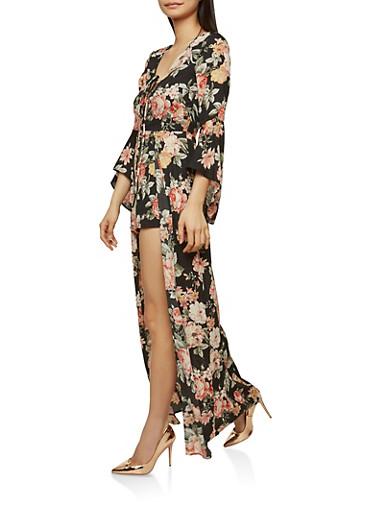 Floral Lace Up Maxi Romper,BLACK,large