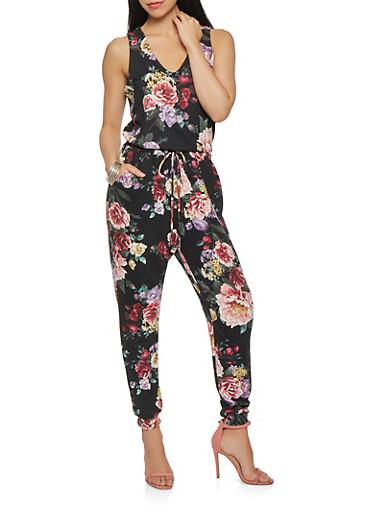 Floral Soft Knit Jumpsuit,BLACK,large