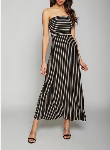 Striped Maxi Dress,BLACK,large