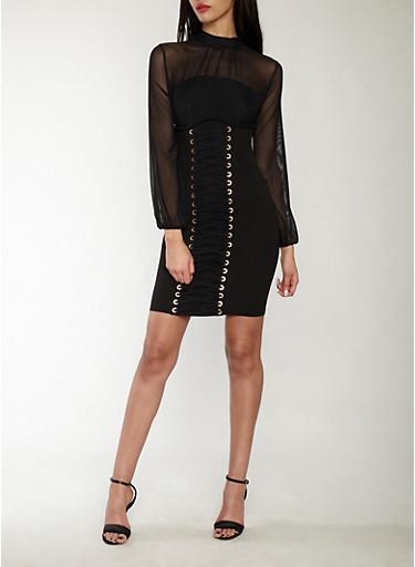 Mesh Lace Up Bodycon Dress,BLACK,large