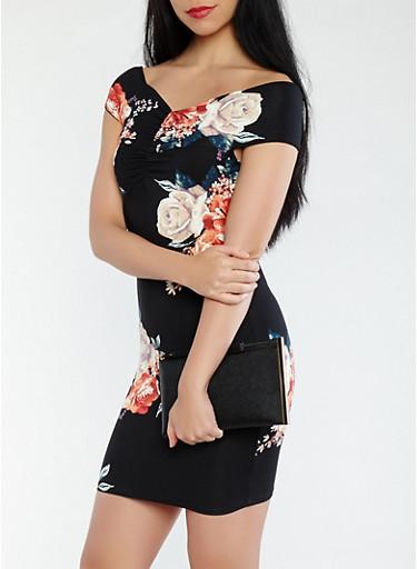 Floral Off the Shoulder Dress,BLACK,large