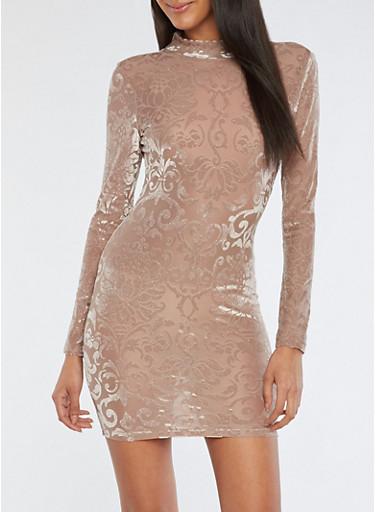 Glitter Knit Velvet Burnout Open Back Dress,TAUPE,large
