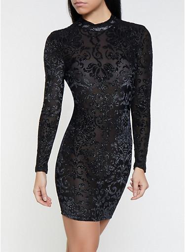Caged Back Velvet Burnout Dress,BLACK,large