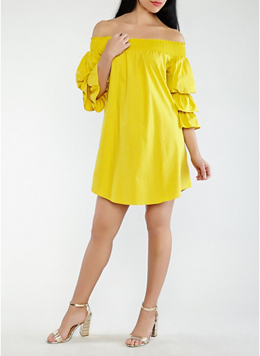 Off the Shoulder Tiered Sleeve Dress,YELLOW,large