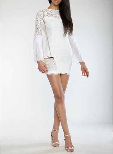 Pleated Bell Sleeve Lace Dress | Tuggl