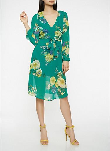 Floral Tie Waist Skater Dress,GREEN,large