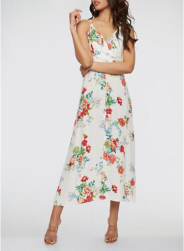 Floral Faux Wrap Slit Front Maxi Dress,WHITE,large