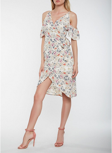 Floral Cold Shoulder High Low Wrap Dress,IVORY,large