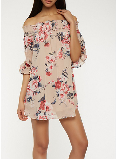 Floral Chiffon Off the Shoulder Dress,TAUPE,large