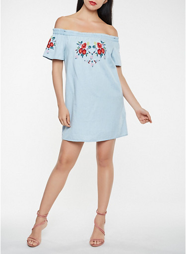 Off the Shoulder Embroidered Chambray Dress,DENIM,large