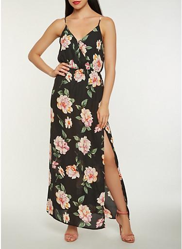 Floral Faux Wrap Slit Maxi Dress,BLACK,large