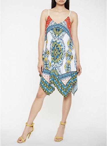 Bandana Print Asymmetrical Dress,WHITE,large