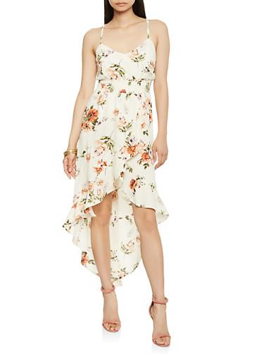 Floral Smocked Waist High Low Dress,IVORY,large