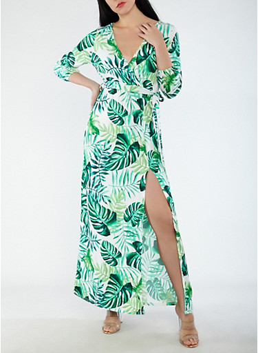 Printed Faux Wrap Maxi Dress,GREEN,large