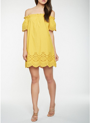 Off the Shoulder Eyelet Dress,MUSTARD,large