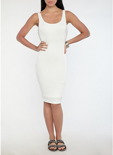 Knit Midi Tank Dress,IVORY,large