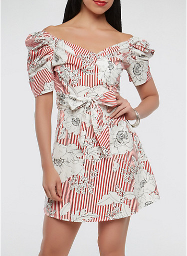 Printed Faux Wrap Dress,RED,large