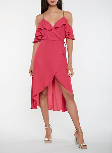 Off the Shoulder High Low Wrap Dress,FUCHSIA,large