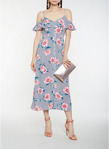 Striped Floral Cold Shoulder Midi Dress | Tuggl