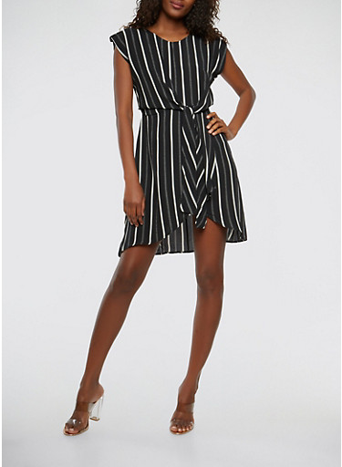 Striped Tie Front Dress,BLACK/WHITE,large