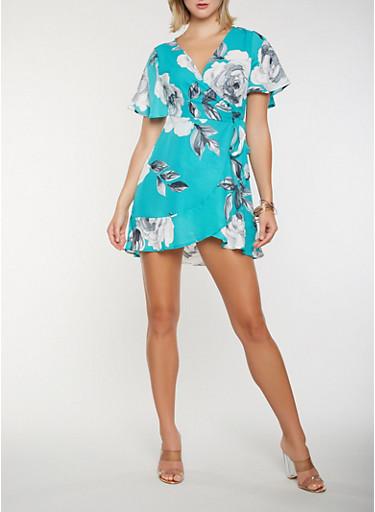 Floral Wrap Dress,JADE,large