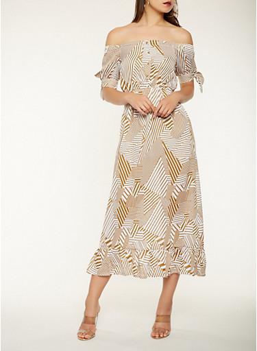 Printed Off the Shoulder Maxi Dress,KHAKI,large