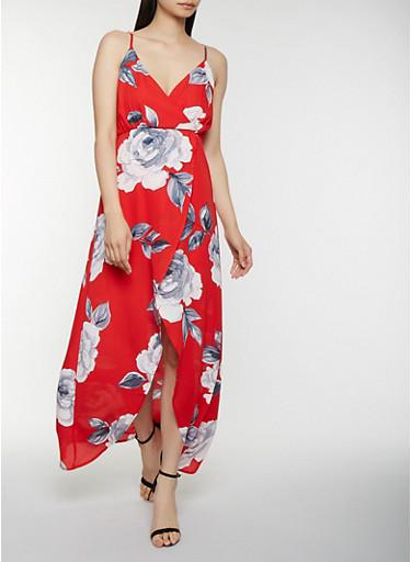 Floral Faux Wrap Maxi Dress,RED,large