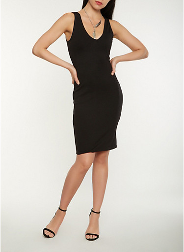 Ponte Midi Tank Dress,BLACK,large