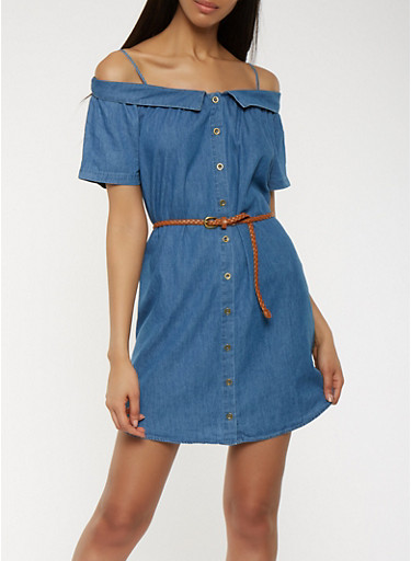 Chambray Off the Shoulder Button Front Dress,MEDIUM WASH,large