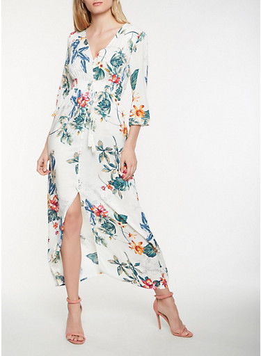 Floral Button Front Maxi Dress,WHITE,large